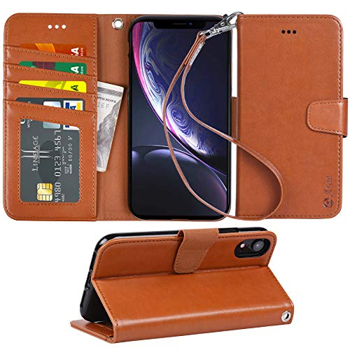 Arae Wallet Case for iPhone xr 2018 PU Leather flip case Cover [Stand Feature] with Wrist Strap and [4-Slots] ID&Credit Cards Pocket for iPhone Xr 6.1 inch (Light Brown)