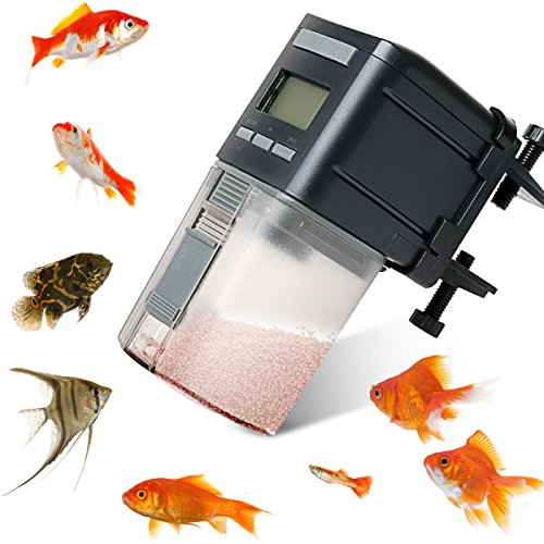 Fish Feeder,Automatic Fish Feeder Battery Operated Aquarium Tank Auto Pet Fish Food Feeder Timer Dispenser For Small Fish,Tropical Fish,Gold Fish ()