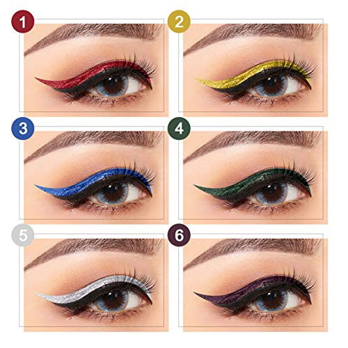 Glitter Liquid Eyeliner Shouhengda Waterproof Shimmer Silver Gold Metallic Colorful Eyeliners Eye Makeup (6 Colors Pack)
