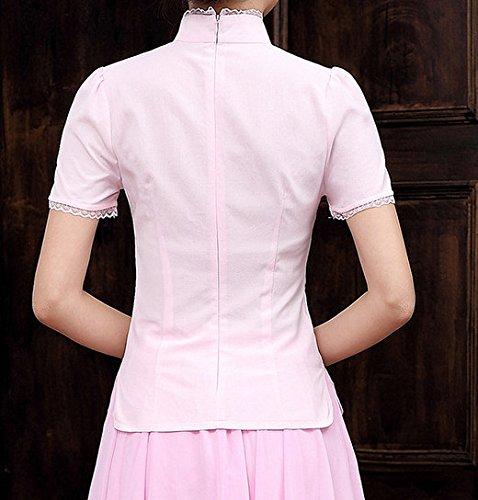 Style Elégant Acvip shirt Blouse Manche Imprimé Veste Fleur Rose Avec T Chemise Coton Tang Courte Dentelle Femme De Chinois En qSrqg