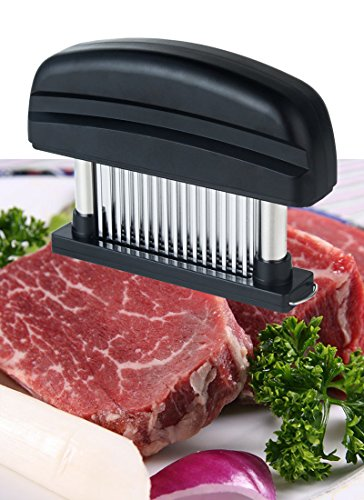 Meat Tenderizer - 48-Sharp Stainless Precision Blades Delicious Steak Barbecue & Marinating Prep Tool - Dishwasher Safe (black) (Brass Knuckles Meat Tenderizer)