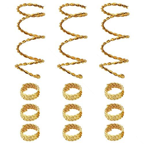Accessory Wrap Hair (Teemico 30 Pieces Copper Hair Dreadlocks Coil Hair Wraps Braiding Dread Locks Metal Hair Cuffs Hair Braiding Jewelry Hair Decoration Accessories (Gold))