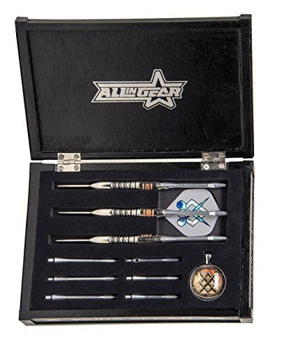 All In Gear Darts Odin Spear Strikes Dart Set Collectors Chest. 3 Nickel Plated Brass Barrels with Steel Tips, 9 Aluminum Shafts, 6 Flights ()