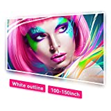 NIERBO White Outline Projector Screen 100 inch Outdoor Moive Screen for Projection Double Sided for Home Living Room Church No Wrinkles with 12 Nails and One Rope