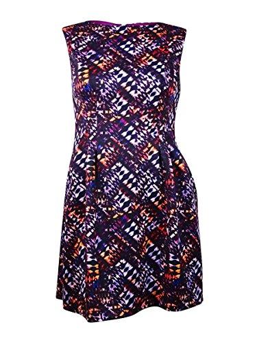 Vince Camuto Women's Abstract Print A-Line Sheath Dress Purple 14