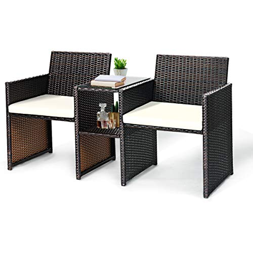 Tangkula Outdoor Furniture Set Paito Conversation Set with Removable Cushions & Table Wicker Modern Sofas for Garden Lawn Backyard Outdoor Chat Set (Sofa Style) (Patio Chat Table)