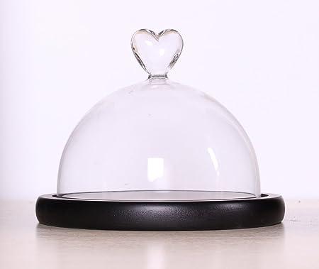 Clear Glass Bell Jar Dome Flower Display Jar Vase Heart Shaped