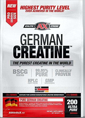(German Creatine | 200 Servings (1000g) Creapure | Pure German Creatine Monohydrate from Creapure | Safest and Purest Creatine)