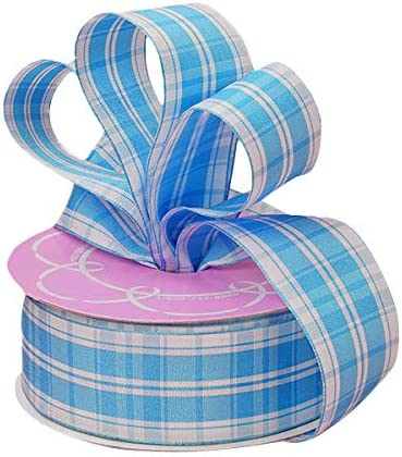 "5 Yards May Arts Baby Pastel Light Blue White Gingham Plaid Ribbon 1 1//2/""W"