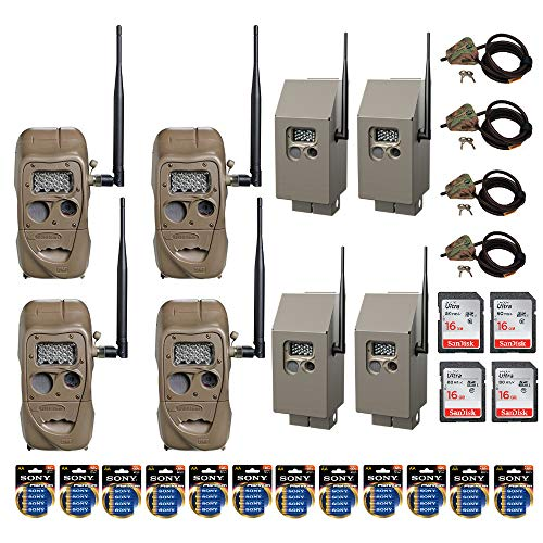 Cuddeback CuddeLink J Series 20MP Long Range IR Trail Cameras 4 Pack (11438) All-in-One Field Kit with Memory Cards, Batteries, CuddeSafe Security Boxes and Cable Locks ()