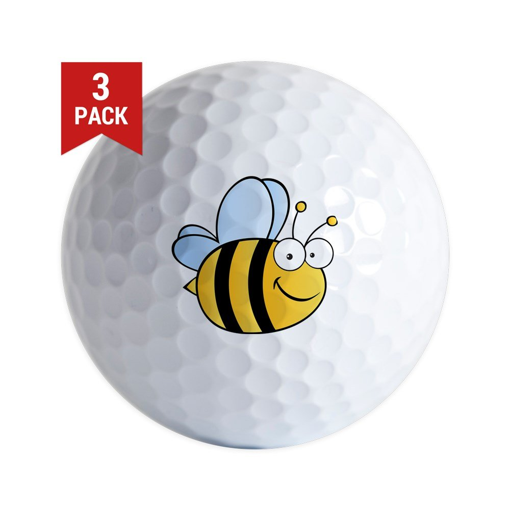 CafePress - Bee Happy - Golf Balls (3-Pack), Unique Printed Golf Balls by CafePress (Image #1)