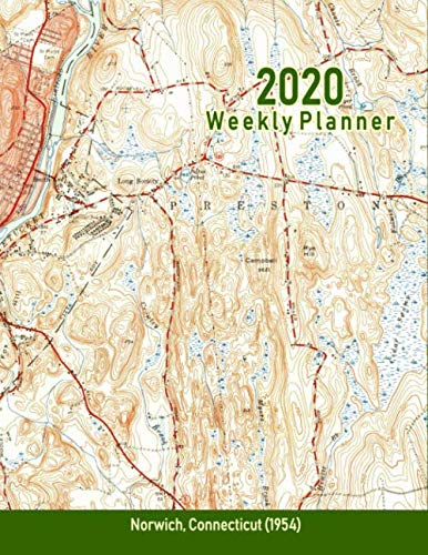 2020 Weekly Planner: Norwich, Connecticut (1954): Vintage Topo Map Cover