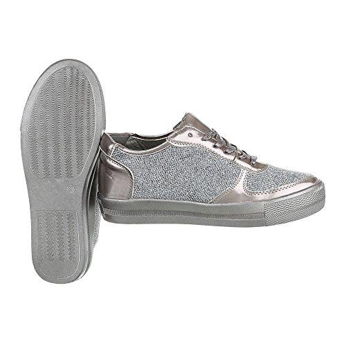 Ital-Design Low-Top Sneaker Damenschuhe Low-Top Sneakers Schnürsenkel Freizeitschuhe Silber Grau