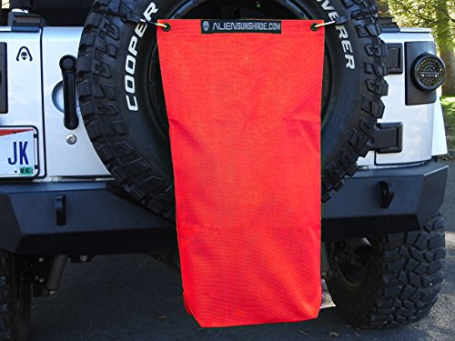 """ALIEN SUNSHADE Jeep Wrangler Mesh RubiSack Exterior Storage Bag for Trash or Trail Gear with 10 Year Warranty – Includes 48"""" Carabiner Bungee (Cherry Red)"""