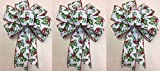 Wired Green and Red Holly Berry Christmas Bow for 3 Bows Ribbon Handmade Holiday Bow 8-9'' in Diameter - Green Hand Made Bow By Wreaths For Door