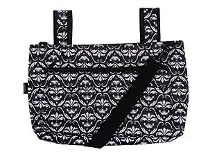 Snapster Snap On Tote Bag for Walker, Stroller or Shopping Cart (Black Damask Scroll)
