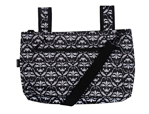 Snapster Snap On Tote Bag for Walker, Stroller or Shopping Cart (Black Damask Scroll) (Snap Black Walker)