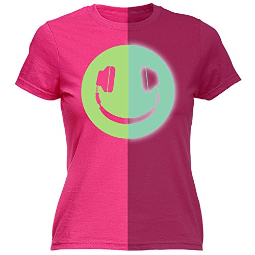 123t Women's Glow In The Dark ... Headphone Smiley Design (XXL - HOT PINK) FITTED T-SHIRT