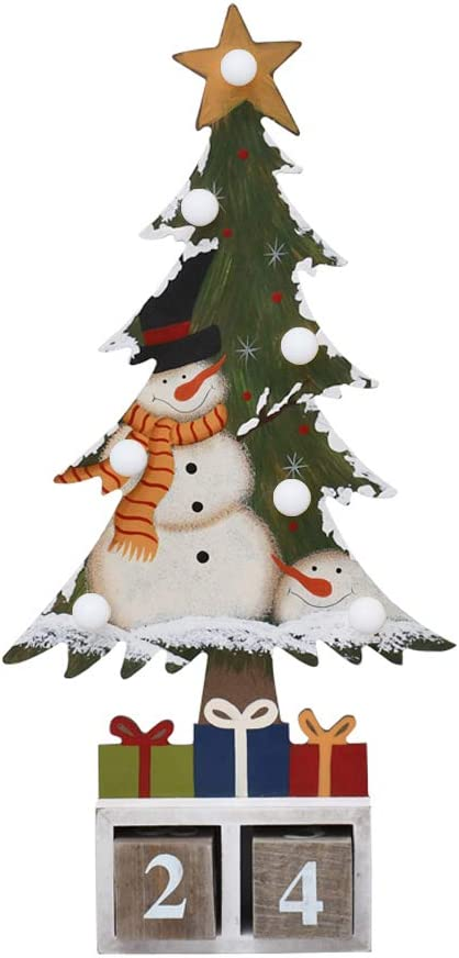 E-view Christmas Advent Calendar Wooden Xmas Tree Tabletop Decor with Lights, Rustic Countdown with Number Blocks Wood Santa Snowman Decoration Indoor Holidays Ornament (Snowman B)