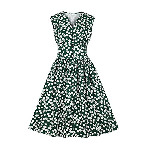 Wellwits Women's Floral Print Button Down 1940s Retro Vintage Dress Green L