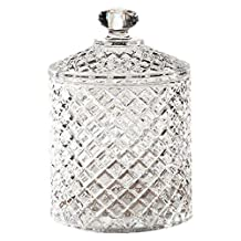 Fifth Avenue Crystal Muirfield Faceted Crystal Covered Jar- 5-1/2-Inch D by 8.25-Inch H,