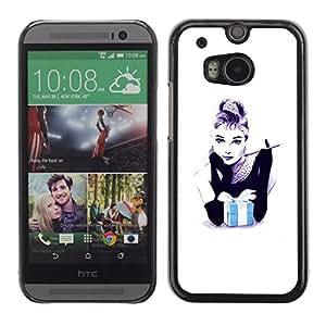 Caucho caso de Shell duro de la cubierta de accesorios de protección BY RAYDREAMMM - HTC One M8 - Gift Black White Minimalist Fashion
