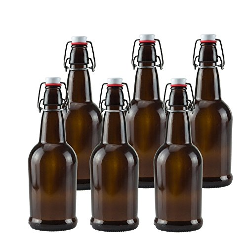 Brewing Root Beer - Ilyapa 16oz Amber Glass Beer Bottles for Home Brewing - 6 Pack with Airtight Rubber Seal Flip Caps