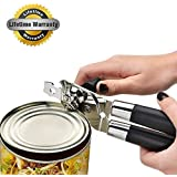 AmazeFan Can Opener, Heavy Duty Manual Can Opener Stainless Steel Can Bottle Opener with Smooth Turn Knob and Ergonomic Anti-slip Handles.