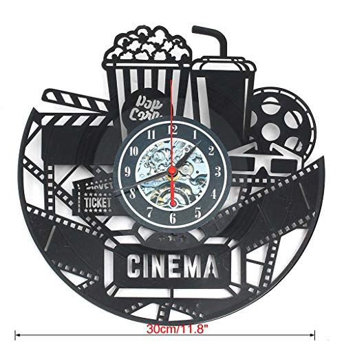 (Zdtxkj 12 Inch Wall Clock Vinyl Record Home Decoration Vintage 3D Popcorn Cinema Theater Living Room Wall Hanging Clock Decorative Gift)