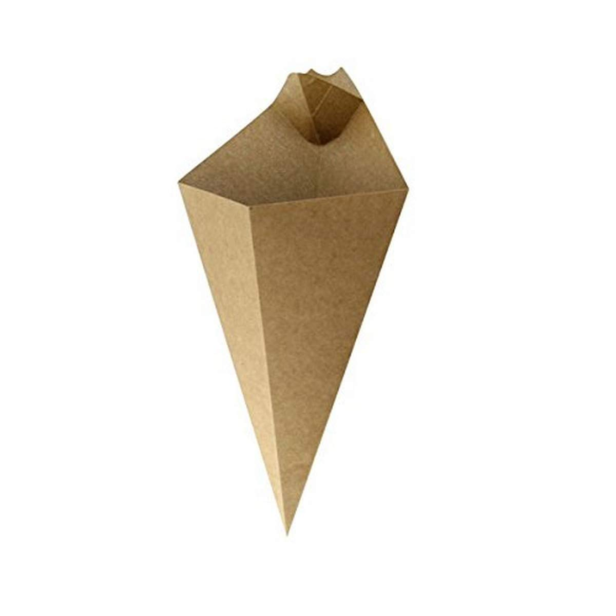 Kraft Paper Cones with Dipping Sauce Compartment (Case of 25), PacknWood - Disposable Appetizer Food Cups (5.31