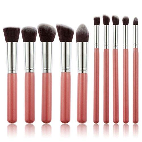 10 Piece Premium Cosmetic Kabuki Makeup Brush Set  PinkSilver