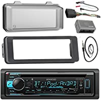 Kenwood KDCBT31 Stereo CD Receiver Radio - Bundle with Installation Dash Kit + Handle Bar Control Module + Weathershield Cover + Enrock Wire Antenna for 1998 2013 Harley Touring Motorcycle Bikes