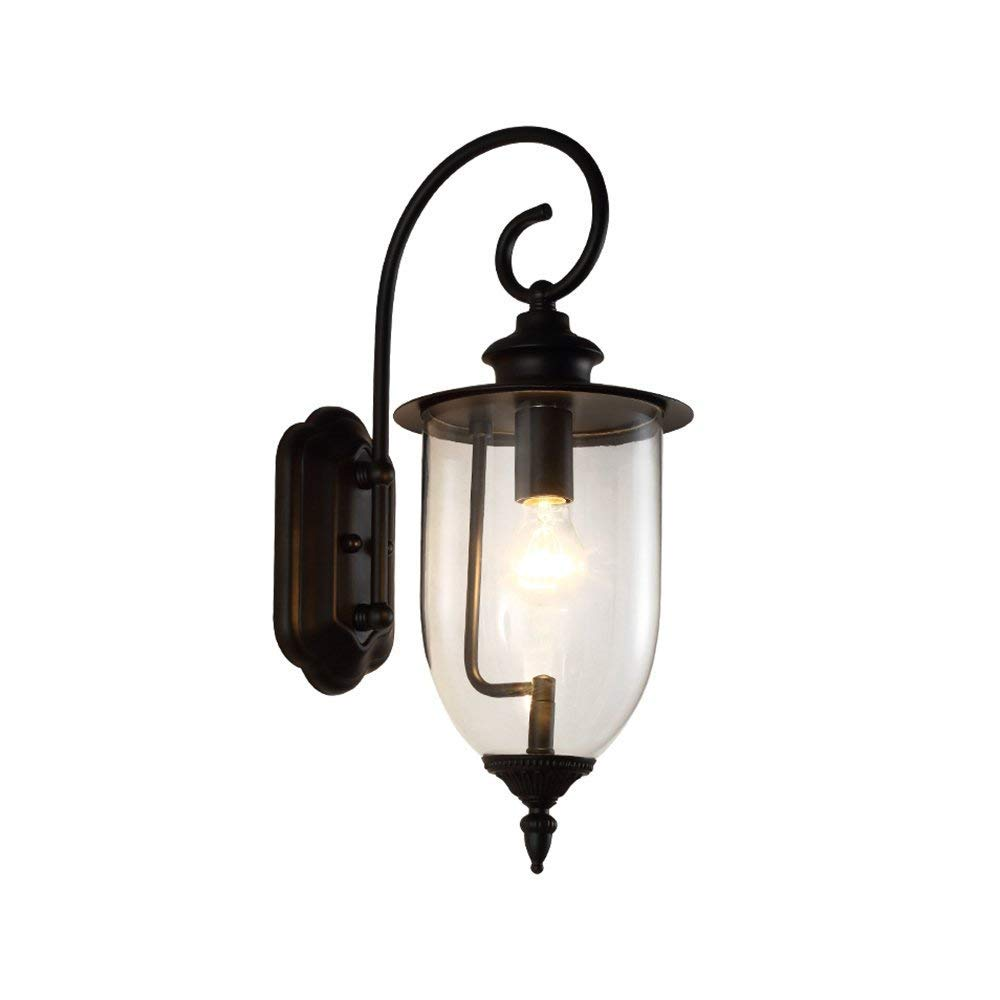 DASENLIN Lampada da Parete, Impermeabile Retro Lampada da Parete, Giardino Giardino Illuminazione, in Ferro Battuto Vetro E27 Lampada, E27 Diametro 7,87 Pollici  Altezza 19,69 Pollici