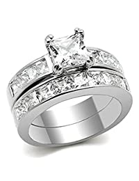 Kristie Princess Cut Wedding Ring Set AAA CZ- Ginger Lyne Collection
