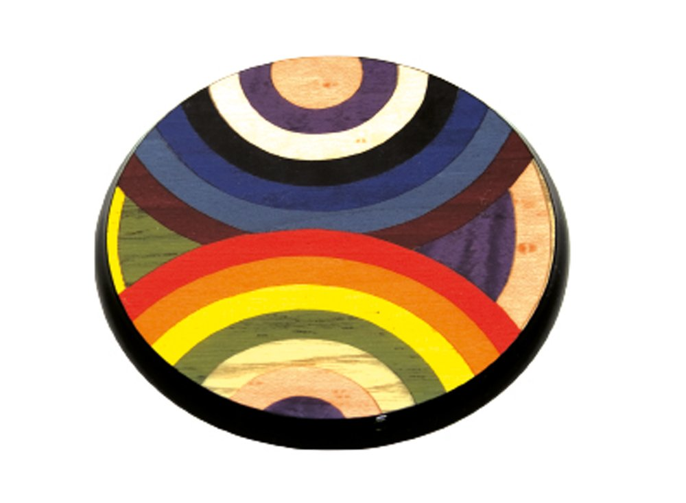 Ercolano Multicolor Circles Luxury Jewelry Vanity Wooden Underplate 12.25'' Diameter Made In Italy