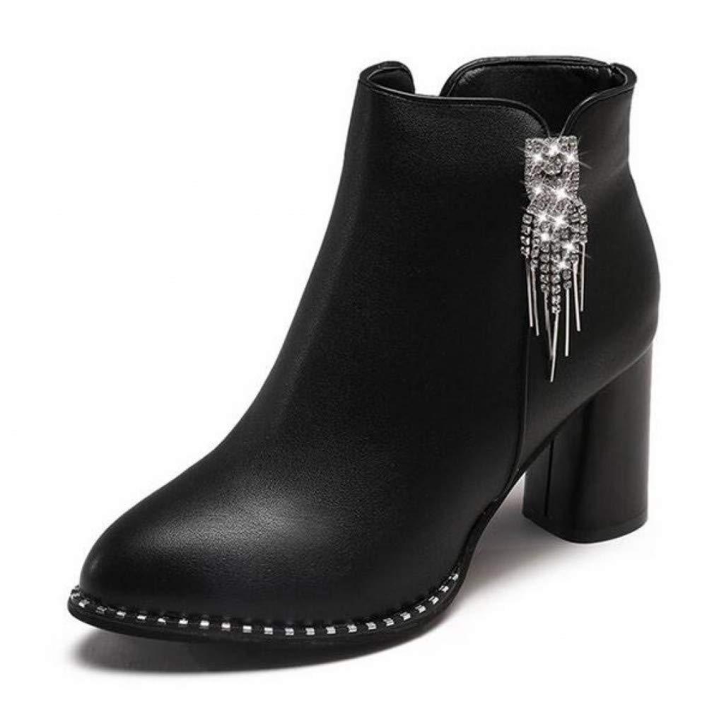 PINGXIANNV Herbst Winter Dicke High Heel Damen Stiefel Spitz Leder Stiefel Strass Ankle Stiefel Zipper High-Heel Stiefel Leder 3fd0b1