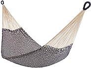 "Handwoven Cotton Rope Hammock, Shareable, Yellow Leaf Hammocks - ""Montauk"" Hammock, Navy Blue, Off-White Cotto"