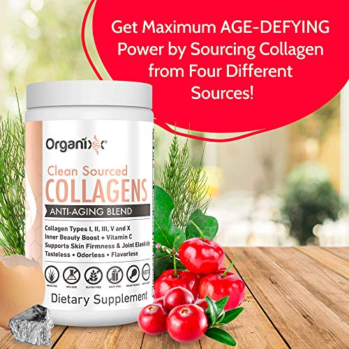 Collagen Powder - 5 types in 1 - Improves Hair, Skin and Nails - 4 Sources Including Marine Collagen and Bone Broth Collagen - Clean Sourced Collagens by Organixx (30 Servings) by ORGANIXX (Image #2)