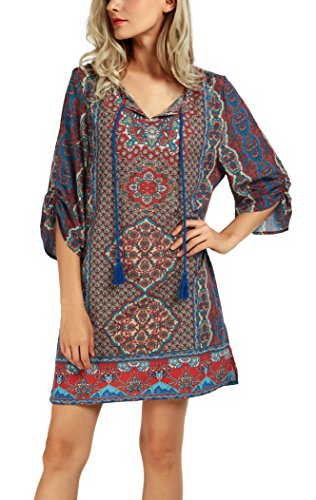 Women Bohemian Neck Tie Vintage Printed Ethnic Style Summer Shift Dress (Large, Pattern -