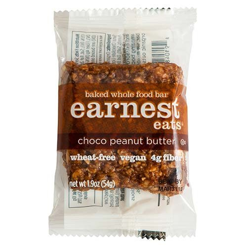 Earnest Eats Chewy Whole Food Energy Bars, Vegan, 100% All Natural, 190mg Omega 3, Choco Peanut Butter, 1.9oz Bars, Pack of 12