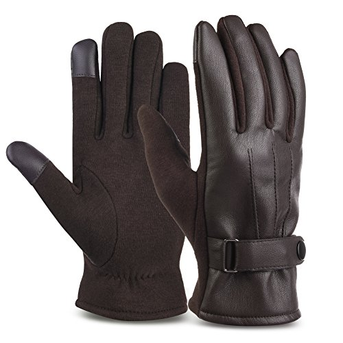 Vbiger Leather Gloves Winter Mittens Touch Screen Gloves For Men, One Size, Brown ()