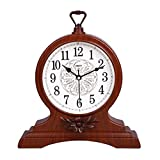 HAOFAY Desktop Clock, European-style Living Room Retro Desk Clock, Bedroom Bedside Battery-powered Quartz Clock