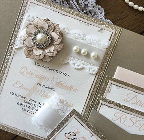Amazon Com Elegant Vintage Lace Pocket Wedding Invitation Suite