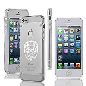 Apple iPhone 5c Ultra Thin Transparent Clear Hard TPU Case Cover Skull Wearing Motocross Helmet (White)