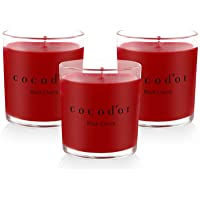 Cocod'or Premium Jar Scented Candles 3 Pack, Black Cherry, 30-40 Hour Extended Burn Time, Made In Italy