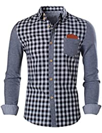 Mens Trendy Slim Fit Two-toned Checkered Longsleeve Shirt