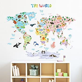 Merveilleux Decowall DLT 1615 Animal World Map Kids Wall Decals Wall Stickers Peel And  Stick Removable