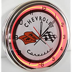Chevy Corvette Flags 15 Neon Lighted Wall Clock Sign Orange