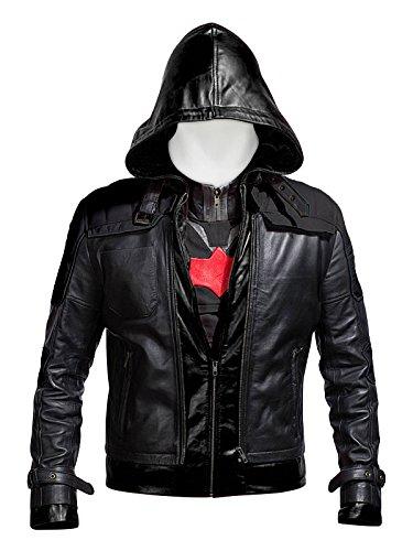 Laverapelle Batman Arkham Knight Black Hood Men Vest and Jacket 2 In 1 - (Authentic Black Leather Vest)