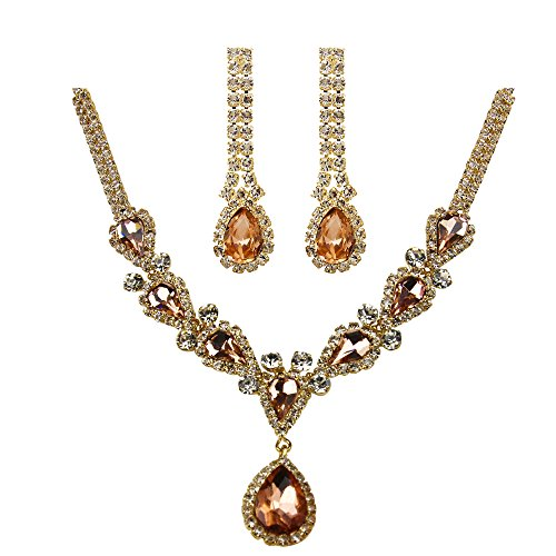 Victorian Style Cubic Zirconia Necklace Earrings Set, - Victorian Gold Necklace